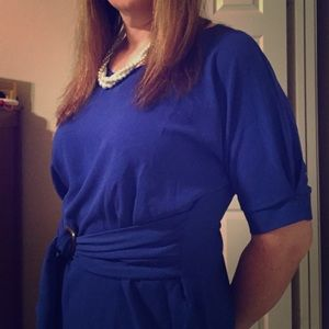 Blue blouse with front imitation tie